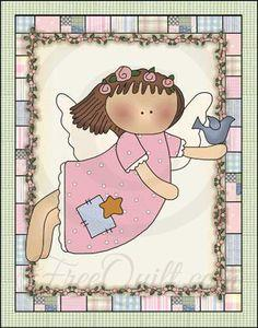 Pink Angel Quilted Wall Hanging