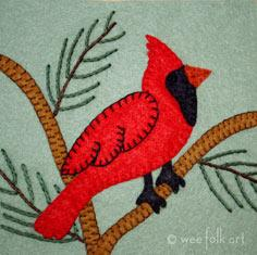 Cardinal Applique Block