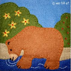 Bear in Water Applique Block