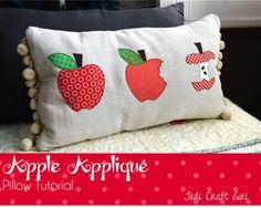 Fall Apple Applique Pillow
