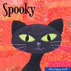 Spooky - black cat applique pattern