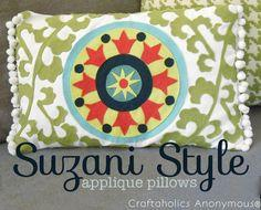Suzani Style Applique Pillows