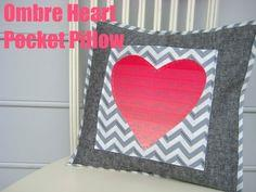 Ombre Heart Pocket Pillow