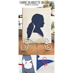 Denim Fabric Silhouette Portrait on Canvas