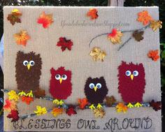 Fabric Owl & Burlap Fall D?cor