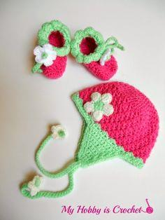 Strawberry Baby Earflap Hat