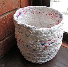 basket out of plastic bags