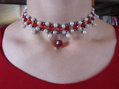 Beaded ruby choker