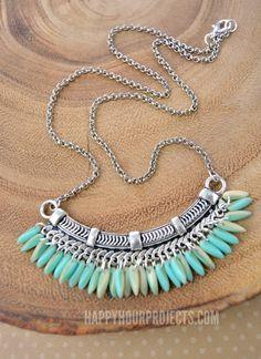 BEADED FRINGE BIB NECKLACE