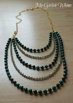 DIY Beaded Bib Teal Necklace