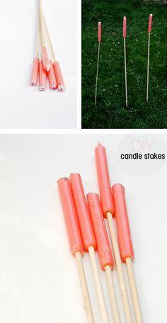 DIY outdoor candle stakes