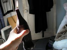 Make a bottle-shaped candle