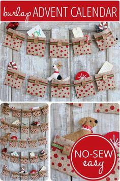 Easy No Sew Burlap Advent Calendar