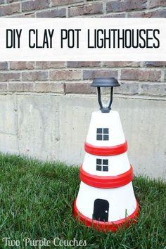 DIY Clay Pot Lighthouses