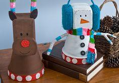 Whimsy Clay Pot Snowman and Reindeer