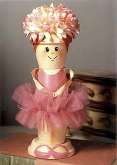 Musical ballerina doll made of clay flower pots