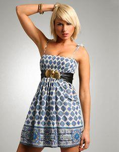SHIRRED BORDER PRINT SUNDRESS