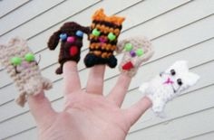 Cat and dog finger puppets