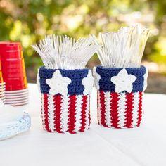 Patriotic Mason Jar Utensil Holder Crochet