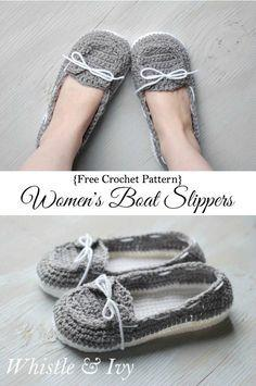 Women?s Crochet Boat Slippers
