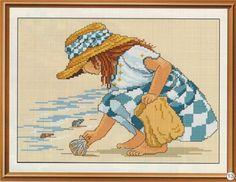 Cross stitch pattern Girl on the shore