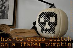 how to cross stitch on a pumpkin