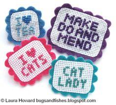 Cross Stitch Sampler Brooches