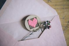 Cross Stitch Heart Pin for Valentine's Day