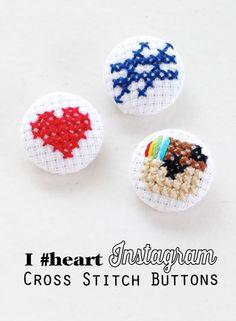 INSTAGRAM CROSS STITCH COVERED BUTTONS