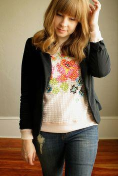 Floral Cross Stitch Sweater