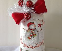 Decoupage Christmas Napkin Jar