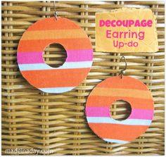Fabric + Decoupage Earring