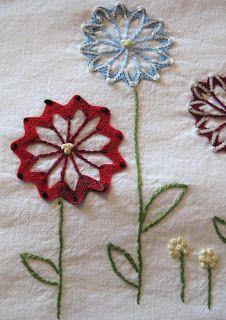 Ric-rac flowers embroidery