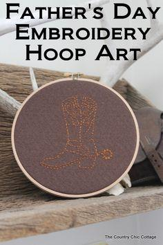 Father's Day Embroidery Hoop Art