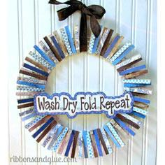 Laundry Room Clothespin Wreath