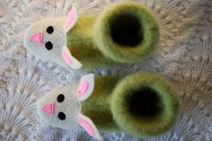 felted wool bunny slippers