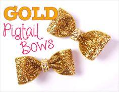 Trendy GOLD pigtail bows!