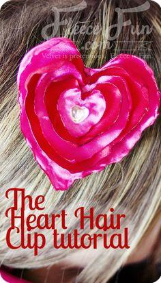 Heart No Sew Satin Hair Clip