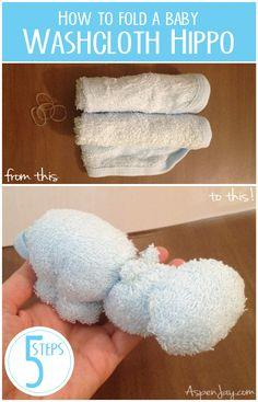 How to fold a Washcloth Hippo