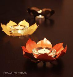 Kirigami Leaf Votives