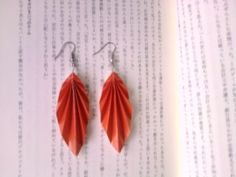 make Japanese origami leaf earrings