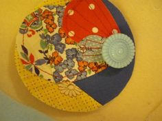 Scrap Fabric and Button Brooch