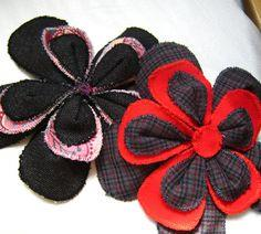 Neato Scrap Fabric Flower Pins