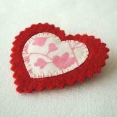 Upcycled Fabric Heart Brooch