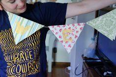 DIY bunting with scrap fabric