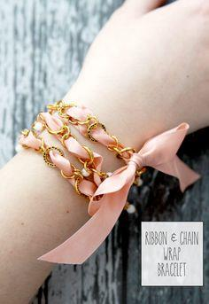 Ribbon and Chain Wrap Bracelet