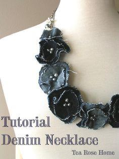 Denim flower necklace tutorial