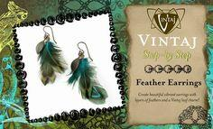 Feather Earrings with Vintaj Charms