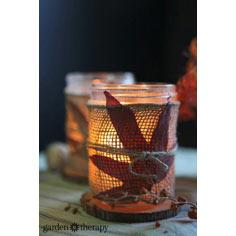 Fall Leaves and Burlap DIY Candles