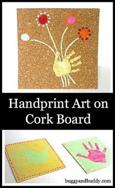 Handprint Art on Cork Board